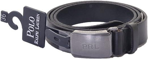 Ralph Lauren Polo engine-turned cinturón de piel - negro -: Amazon ...