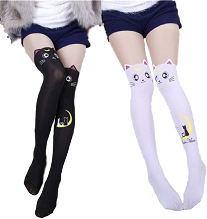 efbb8ac0d70 GK-O 2 Pairs Anime Sailor Moon Luna Cat Printing Stockings Legging Cosplay  Costume Tights