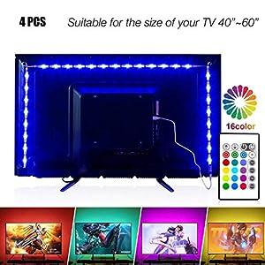 Led Strip Lights 6.56ft for 40-60in TV, PANGTON VILLA USB LED TV Backlight Kit with Remote – 16 Color Changing 5050 LEDs Bias Lighting for HDTV