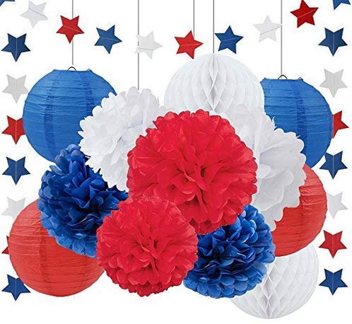 4th of July Decorations Set, Tissue Pom Poms, Paper Lanterns, Honeycomb Balls, Star Garlands, Patriotic Party Supplies   Decor for Independence and Veterans Day, Super Hero Birthday Parties, 14 Pieces