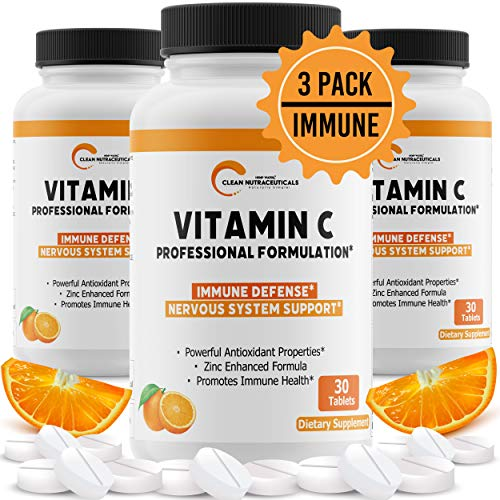 Vitamin C Zinc Immune Support Supplement – Antioxidant & Immunity Booster – Rapid Immune Defense – Non-GMO – VIT C – 3 Bottles