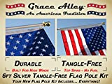 Cheap Flag Pole Kit: Includes Tangle Free Flagpole – Flag Pole Bracket and American Flag Made in USA with Flag Pole Kit for House or Commercial. Wind Resistant – Rust Free.