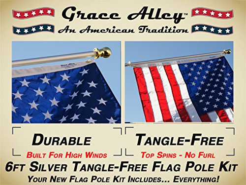 Flag Pole Kit: Includes Tangle Free Flagpole - Flag Pole Bracket and American Flag Made in USA Flag Pole Kit for House or Commercial. Wind Resistant - Rust Free. ()