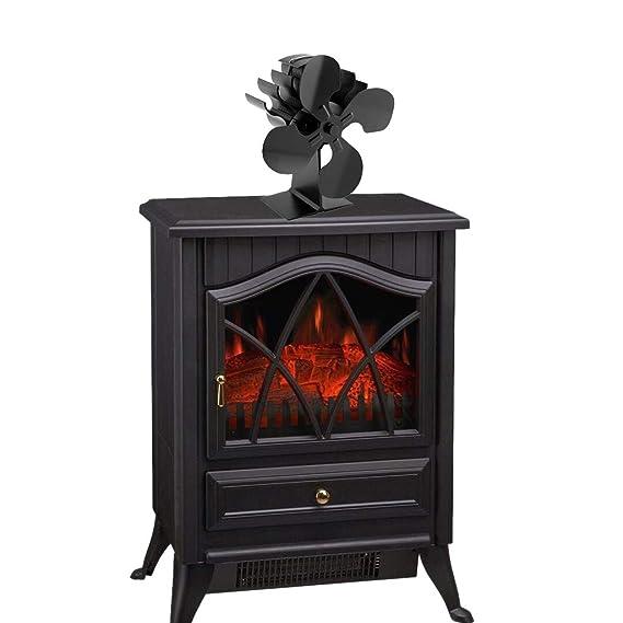 MJiang ventilador de 4 aspas para estufa de leña, quemador de leña, calentador de chimenea, respetuoso con el medio ambiente: Amazon.es: Bricolaje y ...