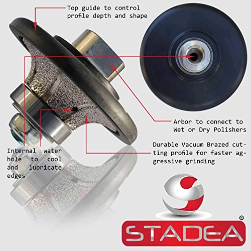 diamond hand profiler wheel bits - 9/16 inch Profile Router Bit Half Bullnose B15 For Granite Marble Stone Grinder Polisher By STADEA (Grinder Accesories compare prices)