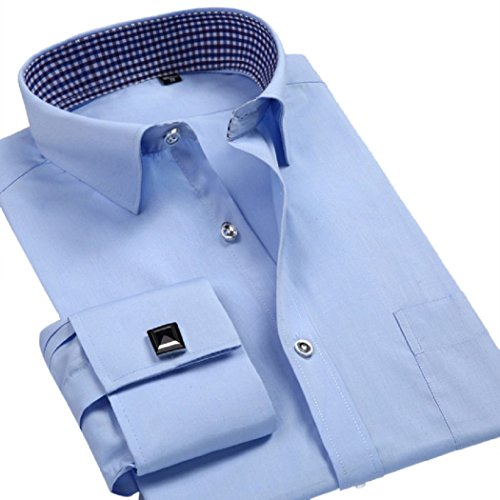 sweattang New Mens Formal Italian Designer Cufflinks French Cuff Dress Shirts (Blue, XXL)