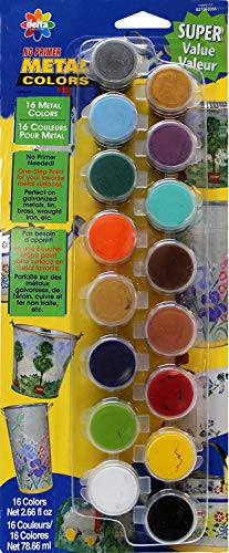 - Delta Creative Paint Pots Set with 16 Metal Colors and Brush, 027060056