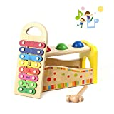 Wondertoys Wooden Toddlers Musical Toys Pound & Tap Bench Slide Out Xylophone with Hammer and 3 Balls
