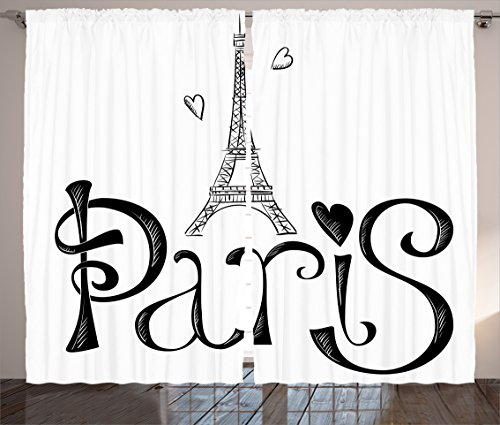 Ambesonne Paris City Decor Collection Eiffel Tower France Heart Shapes Silhouette Decorative Vacation Art Design Living Room Bedroom Curtain 2 Panels Set
