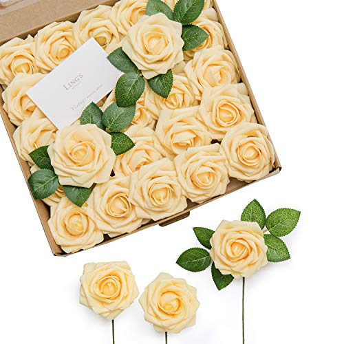 Ling's moment Artificial Flowers Creamsicle Yellow Roses 25pcs Real Looking Fake Roses w/Stem for DIY Wedding Bouquets Centerpieces Arrangements Party Baby Shower Home Decorations ()