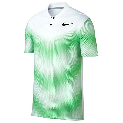 (Nike TW Dry Fit Engineered Blade Golf Polo 2017 White/Green Strike/Black Small)