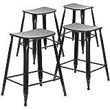 Flash Furniture 4 Pk. 24'' High Black Metal Indoor-Outdoor Counter Height Saddle Comfort Stool