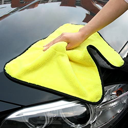 Lifaith Ultra Soft Thick Microfibre Car Cleaning Cloth Buffing Wax Polish Towels Fast Drying Multi-purpose Auto Datailing Towel Yellow//Grey, 35 x 45 cm