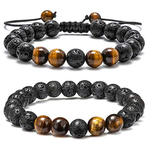 Precious Agate Semi - M MOOHAM Natural Bead Bracelet, 8mm Gem Semi Precious Stone Round Bead Black Lava Rock and Tiger Eye Beads Bracelet, Men Women Stress Relief Yoga Beads Adjustable Bracelet Energy Stone Bracelet