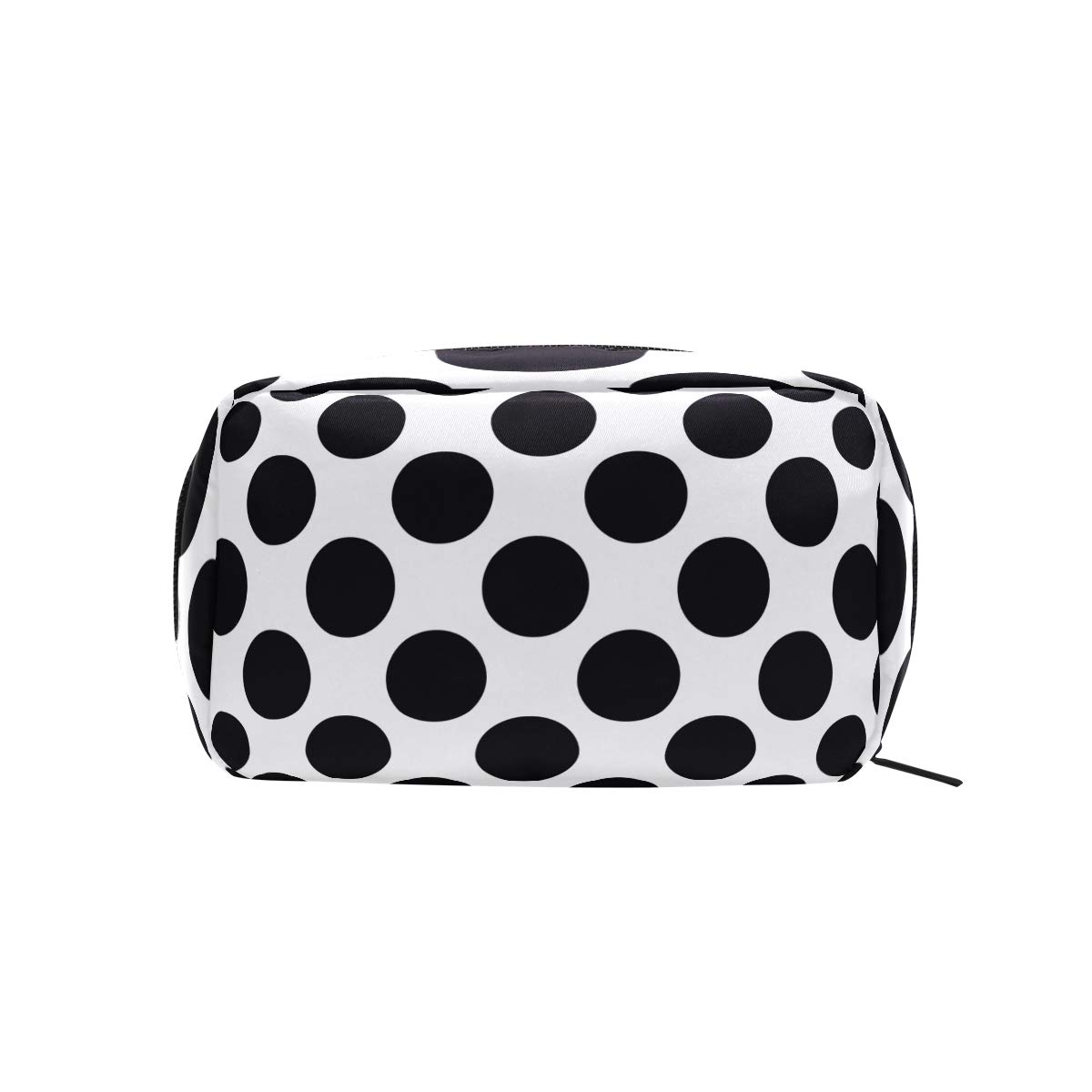 Polka Dots Black White Cosmetic Bag Makeup Case Toiletry Pouch