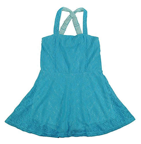 Hello Gorgeous Little Girls Laced Flare Dress W/Shorts Lining (4, Blue)