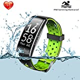 Fitness Tracker, HR Blood Pressure Smart Bracelet Activity Tracker IP68 Waterproof Pedometer Bluetooth Tracker for Run,Walk,Sleep with 4 training modes Call ID display for Android and iOS Smart Phone