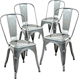 Poly and Bark Tolix Style Bistro A Dining Side Chair (Set of 4), Polished Gunmetal