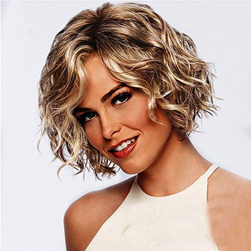 Wig,Onefa Fashion and Wonderful Women Gold Brazilian Short Wavy Curly Parting High Temperature Fiber Wig Hair,Use It Year Round,Whether for Costume,Fashion,Or Just for Fun,Table for Cosplay,Party (Best Temperature For Humans)