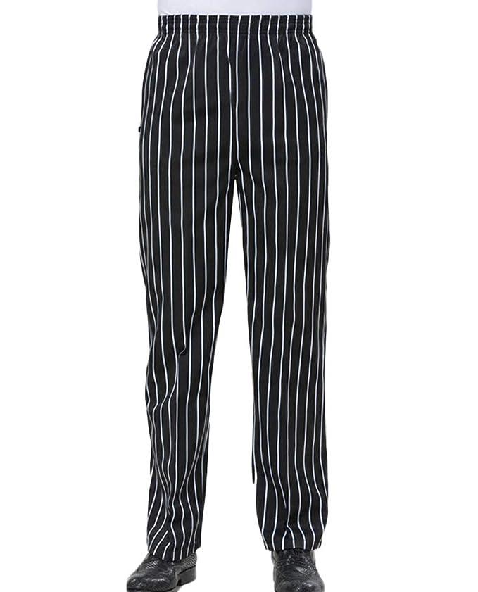 Men's Steampunk Pants & Trousers Nanxson Chef Pants Trousers Uniform Mens Unisex Hotel/Kitchen Elastic Waist Work Pants CFM2004 $16.98 AT vintagedancer.com