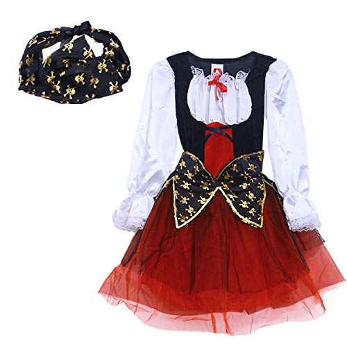 BESTOYARD Classic Pirate Dress-up Costume Halloween Party Masquerade Stage Performance Cosplay Outfit for Kids Size XL