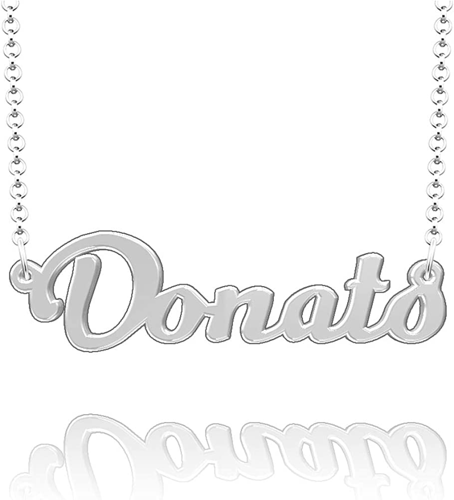 LoEnMe Jewelry Personalized Donato Name Necklace Stainless Steel Plated Custom Made of Last Name Gift for Family