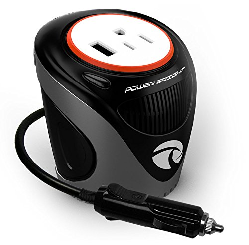 Power Bright 180 Watt Cup Inverter, Car 12V DC to AC Power Inverter with 3 USB Ports 2.1A Shared compatible with iPad and More