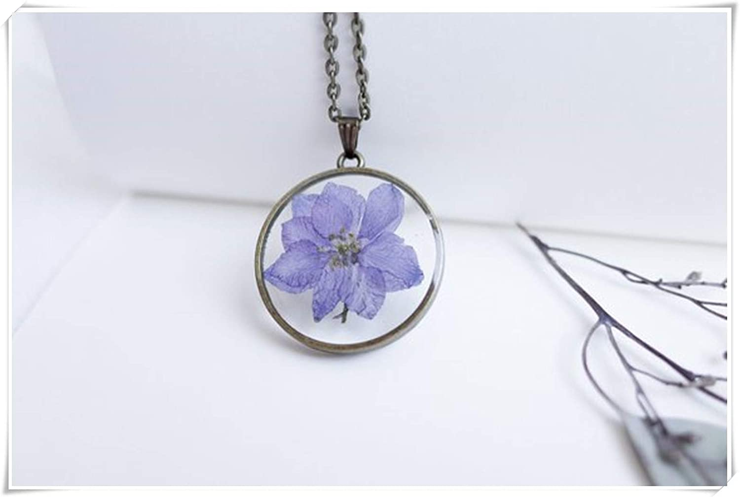 Dandelion Real Flower Necklace,Pressed Flower Jewelry, Terrarium Pendant, Wedding Gift, Botanic Pendants, Delphinium Flower, Resin Necklace wish dandelion