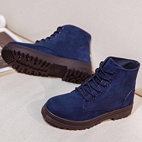 Cordón Gracosy Mujer zapatillas interno Cálido Invierno antideslizantes Azul Botas Planos Calentar Botas lana Sintética Botines y Zapatos cómodo Nieve para Arriba casual I44TwqrFx