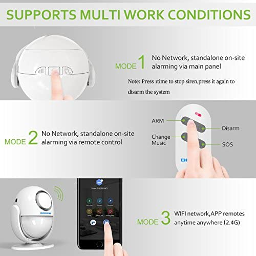 BIBENE 2.4Ghz WiFi Alarm System Wireless with APP Push Notification, Home Security Automation DIY Alarm Set with 5 Door Contacts 0-255s Delay Arm, No Monthly Fee, Expandable 8 Sensors 51j2STolP9L