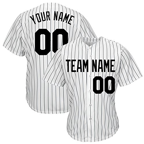 DEHUI Customized Women's White Pinstriped Baseball Jersey with Sewn Team Name Player Name and Numbers,Black Size S