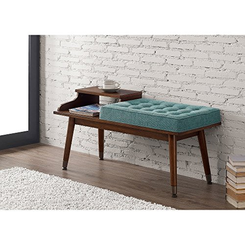 Mid-Century Style Tufted Upholstered Telephone Bench Teal Walnut Wood Storage Bench by I Love Living