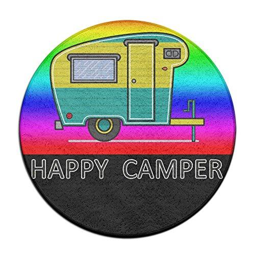 Happy Camper Camping Rainbow Vintage Round Floor Rug Doormats For Home Decorator Dining Room Bedroom Kitchen Bathroom Balcony