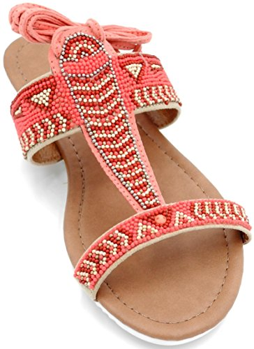 Gladiator Gilly Color Sandal Multi Womens Tie Lace Leg Beaded Wrap Flat Fuchsia Up wBxqfvT