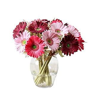 7PCS Real Touch PU Artificial Barberton Daisy Gerbera Daisy Flowers Bunch Bouquet Arrangements for Holiday Bridal Bouquet Home Party Decor Bridesmaid (Red) 91