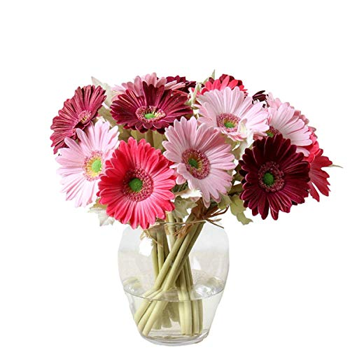 7PCS Real Touch PU Artificial Barberton Daisy Gerbera Daisy Flowers Bunch Bouquet Arrangements for Holiday Bridal Bouquet Home Party Decor Bridesmaid (Red)