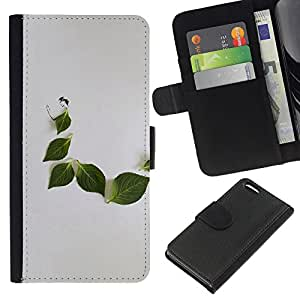WINCASE Cuadro Funda Voltear Cuero Ranura Tarjetas TPU Carcasas Protectora Cover Case Para Apple Iphone 5C - hoja naturaleza minimalista gris triste