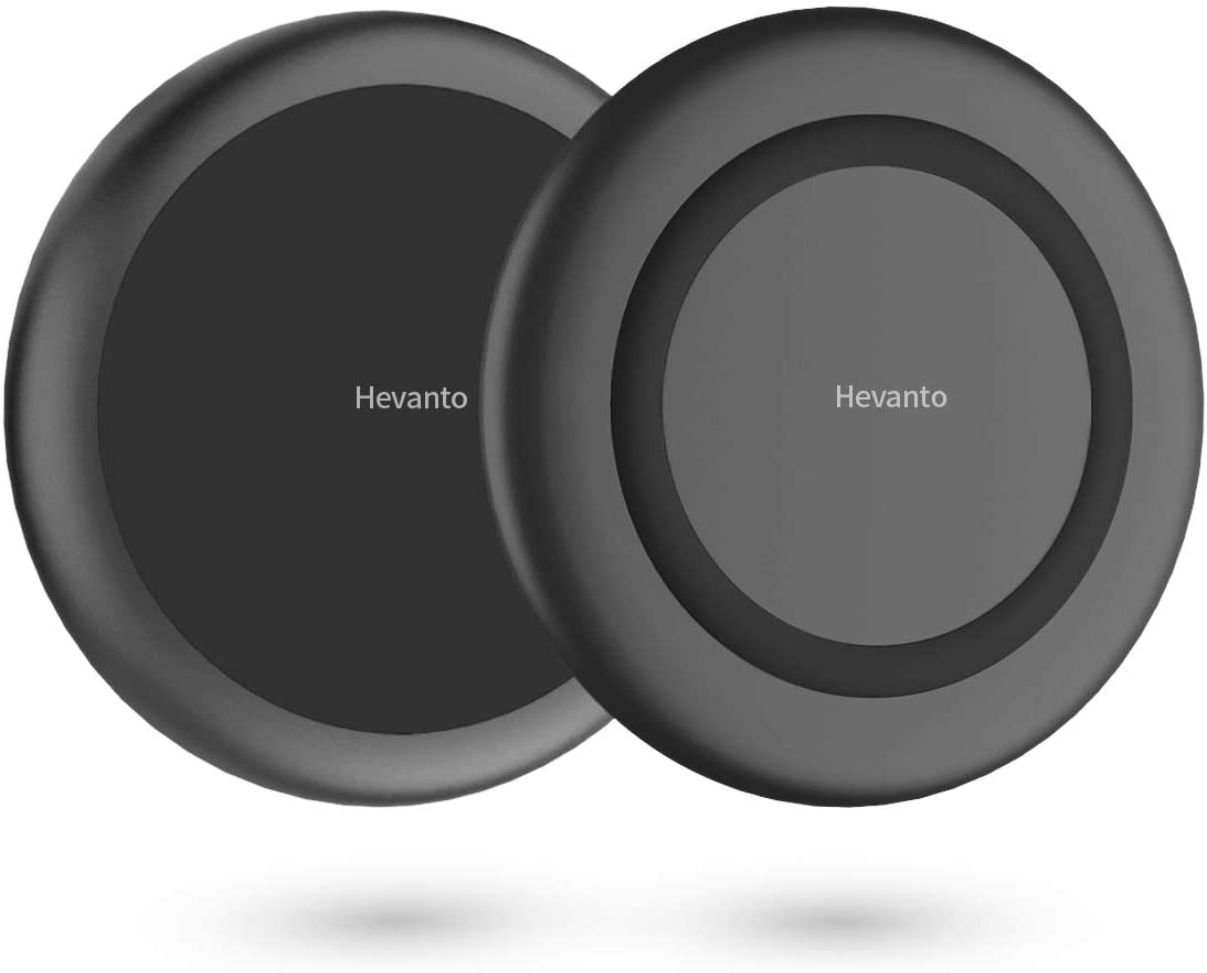 Hevanto Cargador Inalámbrico [2 Pack] Qi 7.5W Cargador Inducción Rápida para iPhone 11/11 Pro/11 Pro MAX/XS MAX/XR/XS/X/8+/8,10W para Samsung S20/S10/Note10,15W MAX Output para LG V50/G8,AirPods Pro