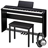 Casio PX160BK Black 88-Key Touch Sensitive Privia Digital Piano with Bench, Stand, Keyboard Pedal and Open Ear Headphones