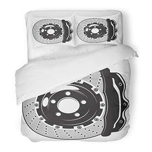 Emvency Bedding Duvet Cover Set King(1 Duvet Cover + 1 Pillowcase) Gray Auto Monochrome of Car Brakes Disk On White Red Automobile Automotive Caliper Hotel Quality Wrinkle and Stain Resistant - Pad Solid Race Disc