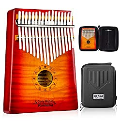 GECKO Kalimba 17 Key Thumb Piano with Hardshell Case Learning Book Tuning Hammer for Kids Adult Beginners C Tone Tuned (Solid Curly Maple)