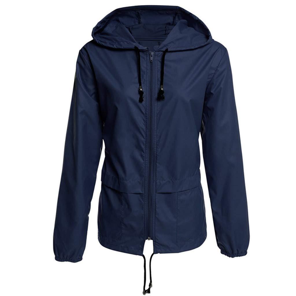 Women Rain Jacket Solid Color Outdoor Waterproof Hooded Raincoat Windproof Outwear with Pockets