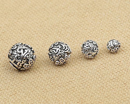 Luoyi Vintage Thai Sterling Silver Beads, Round with Mantra Carved, Spacer Beads, DIY Jewelry (C001Z) (10mm) (Thai Silver Beads)