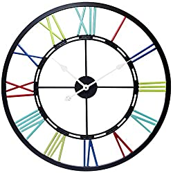 Infinity Instruments 28 All Metal Multi Colored Large Wall Clock, Oversized, Multicolor