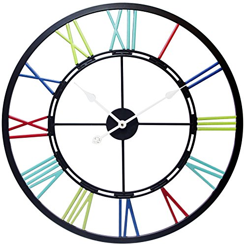 "Infinity Instruments 28"" All Metal Multi Colored Large Wall Clock, Oversized, Multicolor"