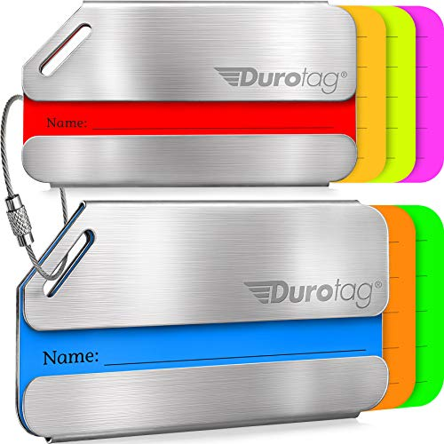 Luggage Tags Durable Stainless Steel, Secure Personalized Travel Bag ID - 2 Pack ()