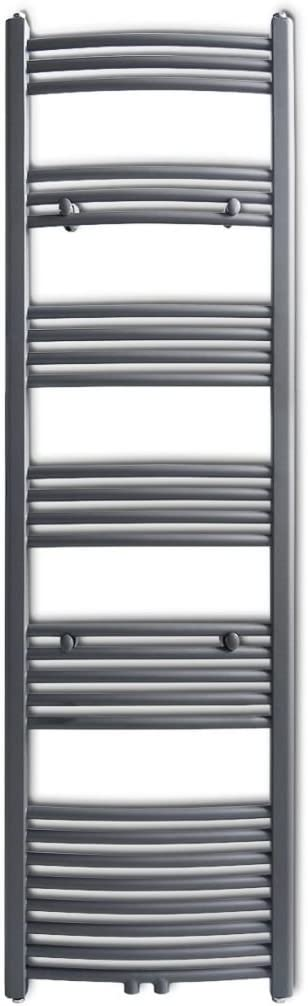 inkl. 1 Badheizk/örper-Handtuchhalter Nishore Badheizk/örper Handtuchhalter Gebogene Rohre Grau 500 /× 1732 mm