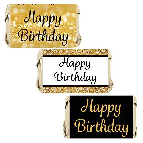 Happy Birthday Party Miniatures Candy Bar Wrapper Stickers - Gold and Black - 45 Count