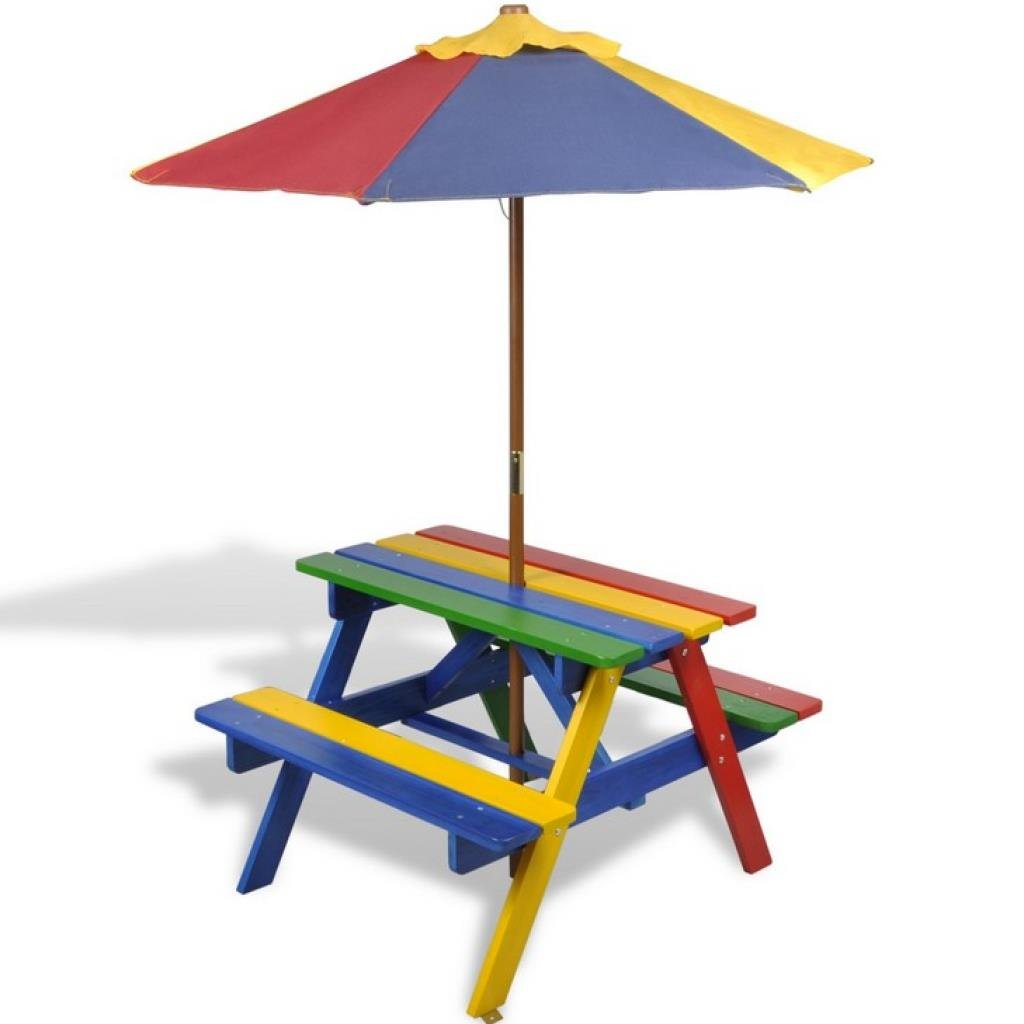 2 in 1 Kids Child Picnic Garden Table & Benches with Parasol in Four Colours