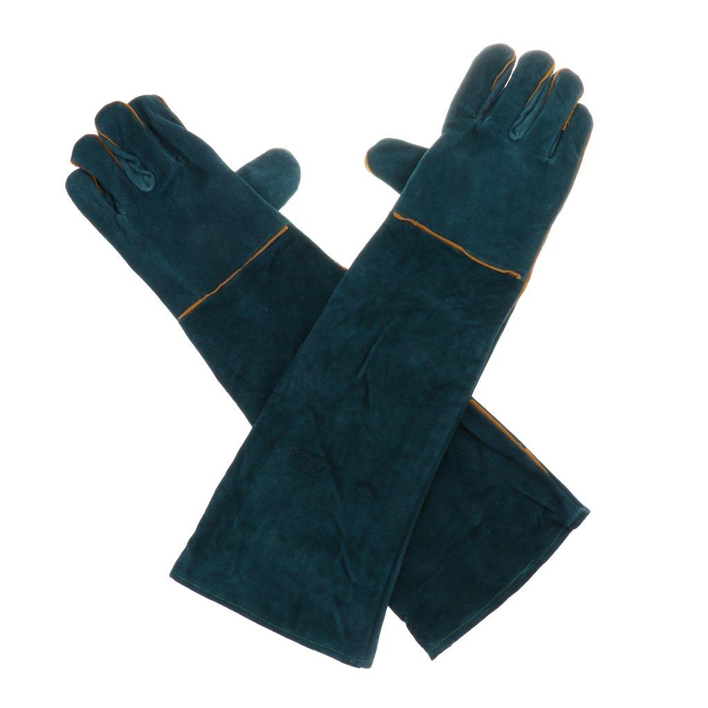 B Blesiya Durable Cowhide Bite Proof Animal Handling Gloves For Animal Handling